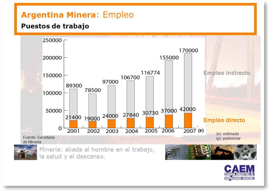 Minería: aliada al hombre en el trabajo, la salud y el descanso. Argentina Minera : Empleo Puestos de trabajo Fuente: Secretaría de Minería (e): estim