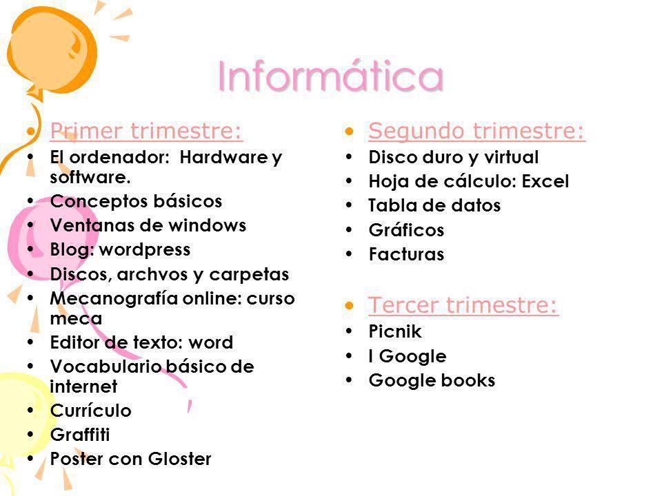 Informática Primer trimestre: El ordenador: Hardware y software. Conceptos básicos Ventanas de windows Blog: wordpress Discos, archvos y carpetas Meca