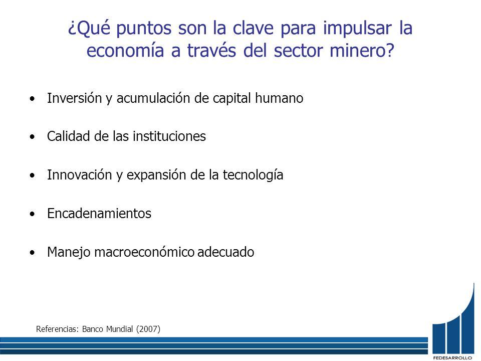 ¿Qué puntos son la clave para impulsar la economía a través del sector minero? Inversión y acumulación de capital humano Calidad de las instituciones