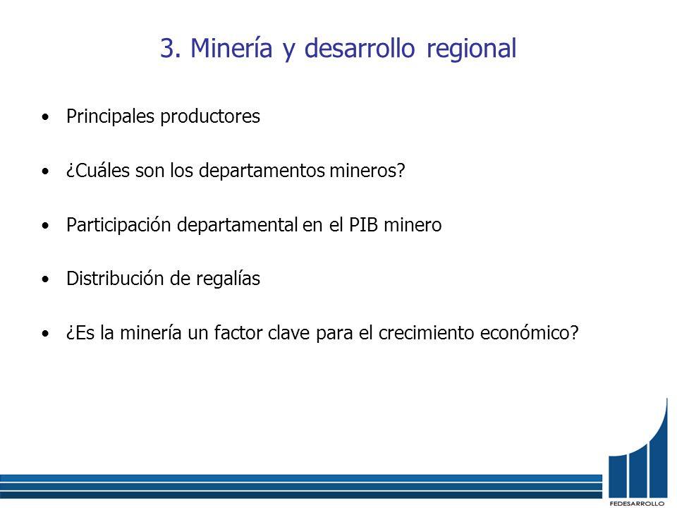 3. Minería y desarrollo regional Principales productores ¿Cuáles son los departamentos mineros? Participación departamental en el PIB minero Distribuc