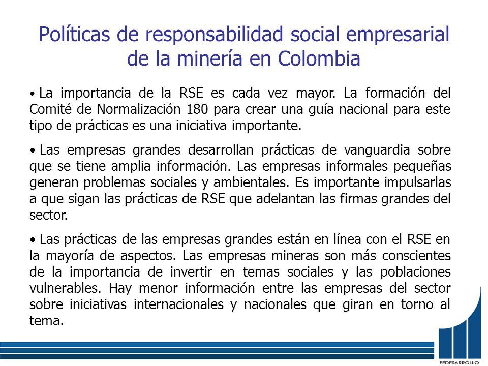 Políticas de responsabilidad social empresarial de la minería en Colombia La importancia de la RSE es cada vez mayor. La formación del Comité de Norma