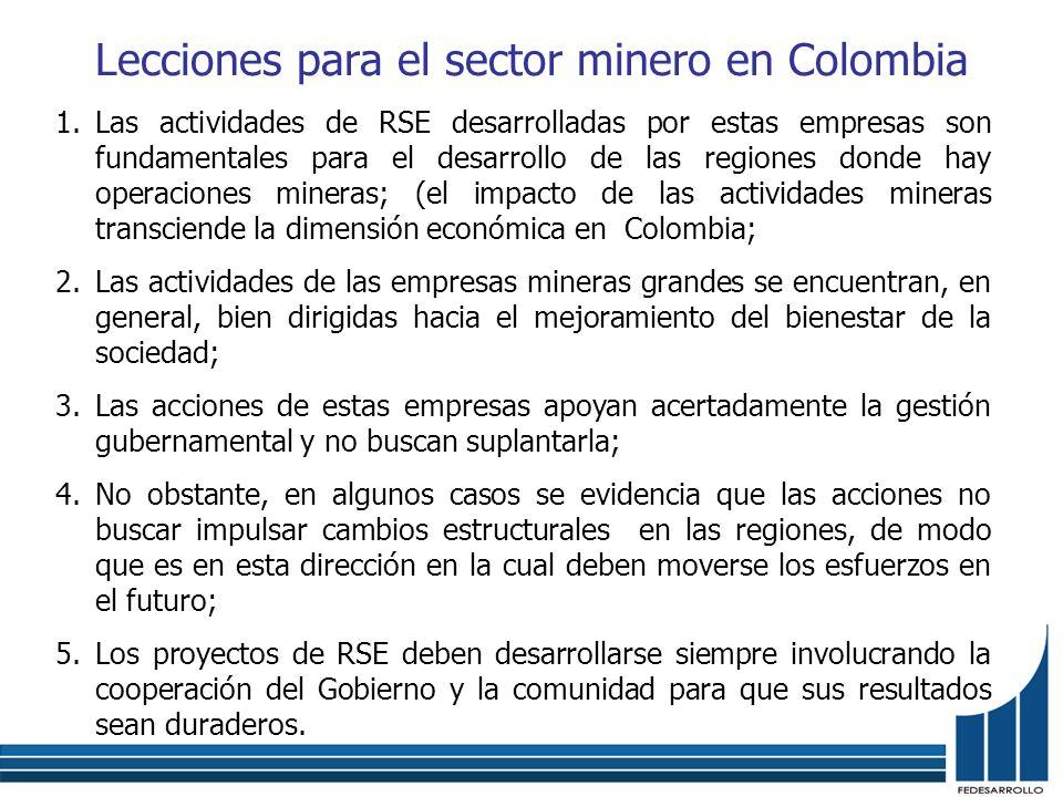 Lecciones para el sector minero en Colombia 1.Las actividades de RSE desarrolladas por estas empresas son fundamentales para el desarrollo de las regi