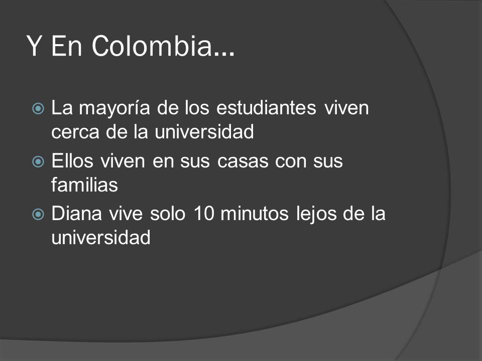 Y En Colombia… La mayoría de los estudiantes viven cerca de la universidad Ellos viven en sus casas con sus familias Diana vive solo 10 minutos lejos