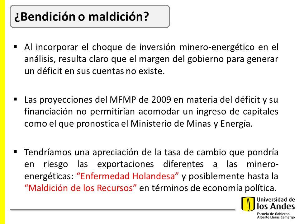 Al incorporar el choque de inversión minero-energético en el análisis, resulta claro que el margen del gobierno para generar un déficit en sus cuentas no existe.
