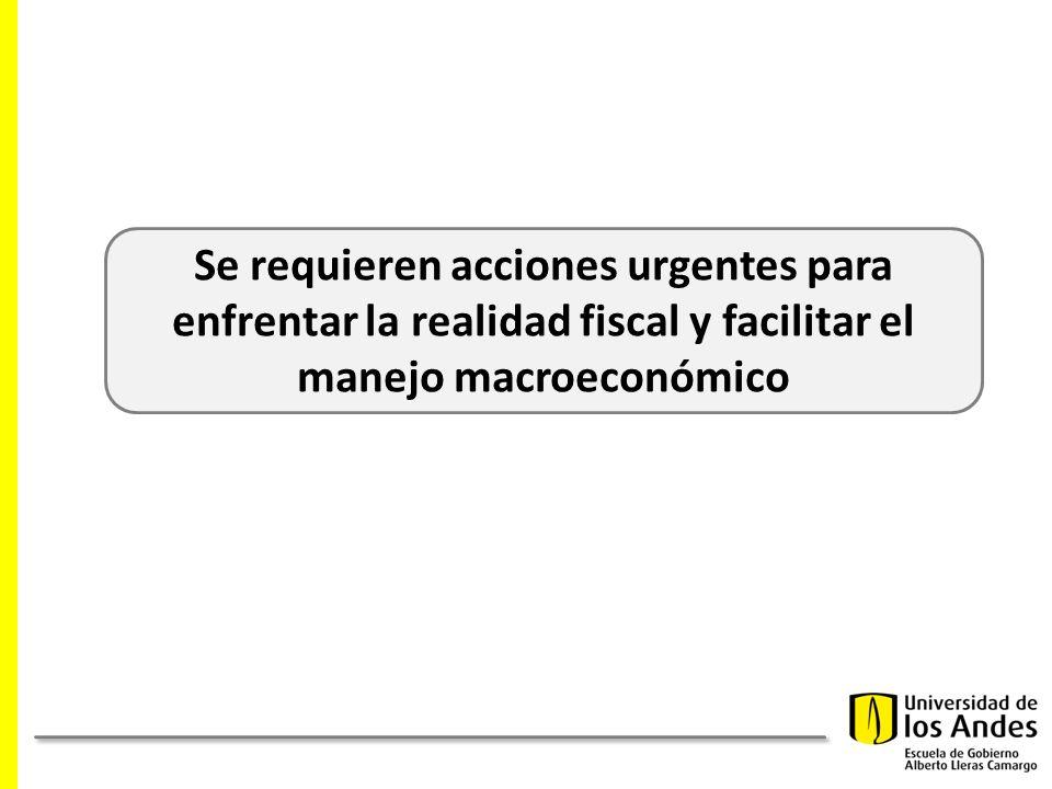 Se requieren acciones urgentes para enfrentar la realidad fiscal y facilitar el manejo macroeconómico