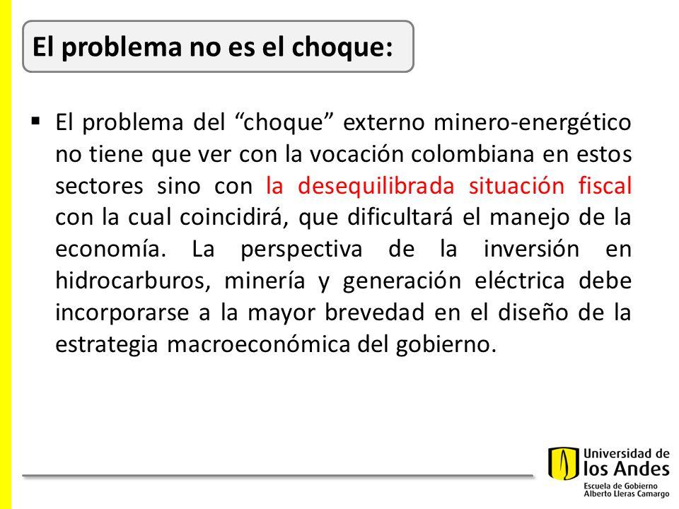 El problema del choque externo minero-energético no tiene que ver con la vocación colombiana en estos sectores sino con la desequilibrada situación fiscal con la cual coincidirá, que dificultará el manejo de la economía.