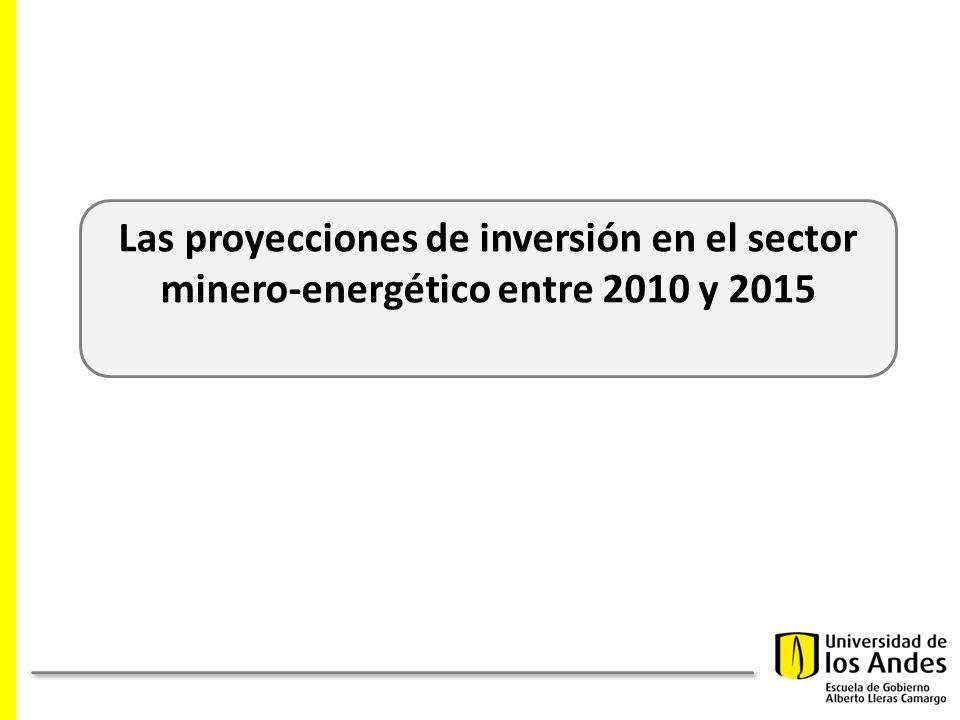 Las proyecciones de inversión en el sector minero-energético entre 2010 y 2015