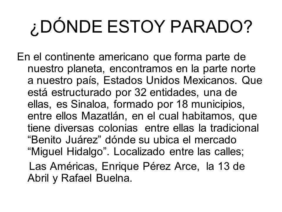 ¿DÓNDE ESTOY PARADO? En el continente americano que forma parte de nuestro planeta, encontramos en la parte norte a nuestro país, Estados Unidos Mexic