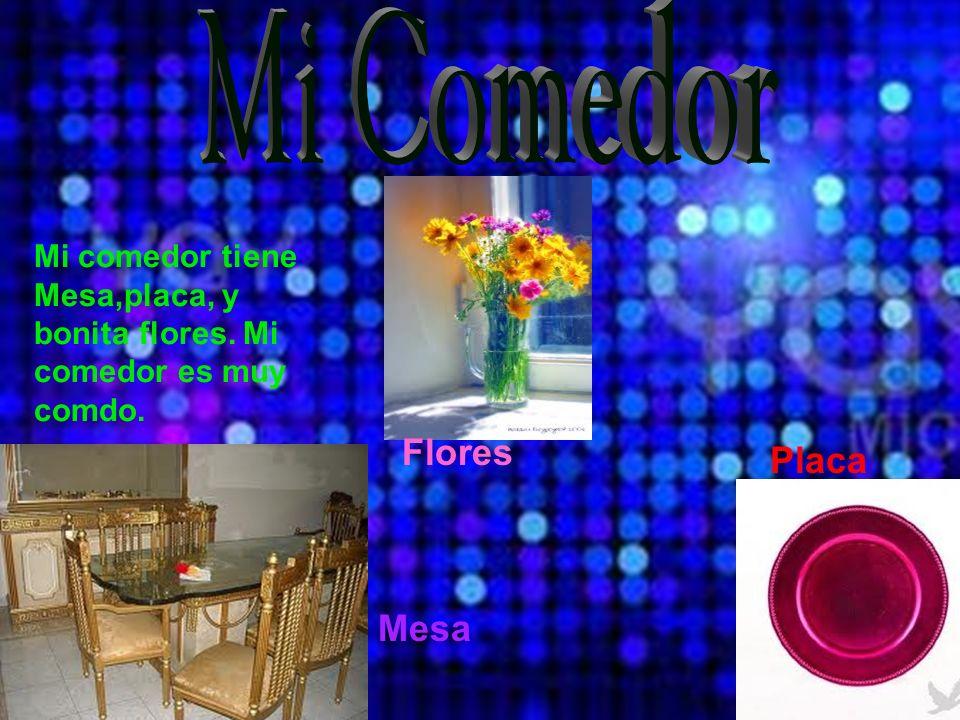 Flores Placa Mesa Mi comedor tiene Mesa,placa, y bonita flores. Mi comedor es muy comdo.