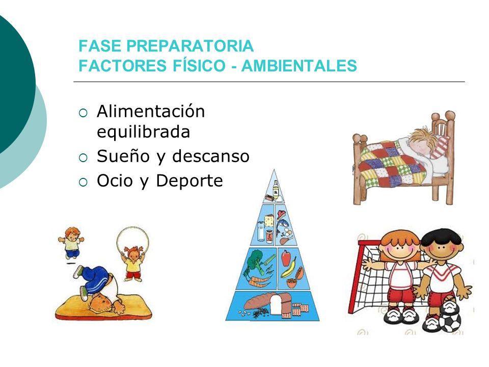 FASE PREPARATORIA FACTORES FÍSICO - AMBIENTALES Alimentación equilibrada Sueño y descanso Ocio y Deporte