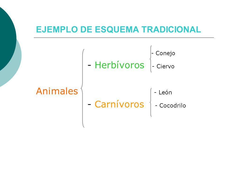 EJEMPLO DE ESQUEMA TRADICIONAL - Conejo - Herbívoros - Ciervo Animales - León - Carnívoros - Cocodrilo