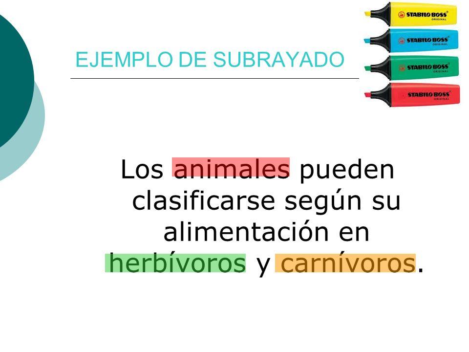 Los animales pueden clasificarse según su alimentación en herbívoros y carnívoros. EJEMPLO DE SUBRAYADO