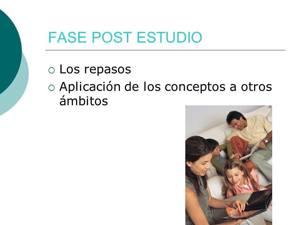 FASE POST ESTUDIO Los repasos Aplicación de los conceptos a otros ámbitos