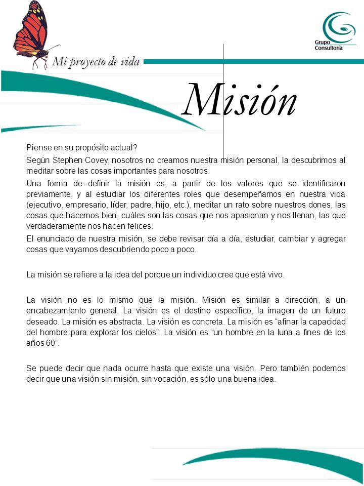 Mi proyecto de vida Misión Piense en su propósito actual.