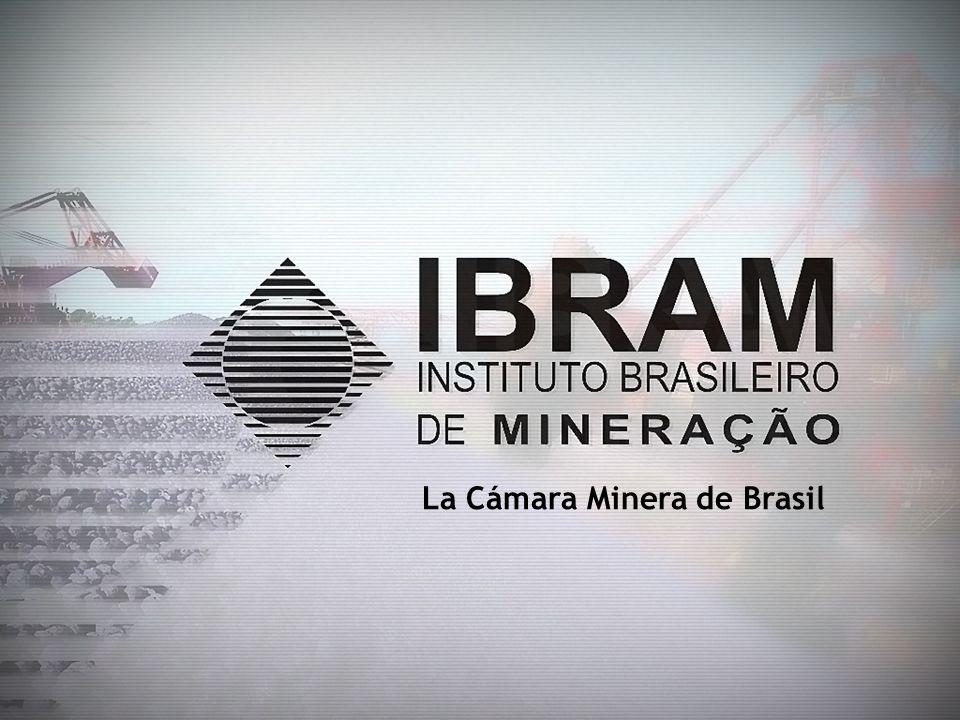 IBRAM- La Cámara Minera de Brasil Organización privada, sin fines lucrativos, que representa la Industria Minera Brasileña; Fundado en 1976; Congrega 182 empresas [mineración y no-mineración] ; Representa más de 85% de la Producción Minera Brasileña (US$ 28 mil millones en 2008) Oficina Central: Brasília – Filiales: Estados (Departamentos) de Minas Gerais y Pará;
