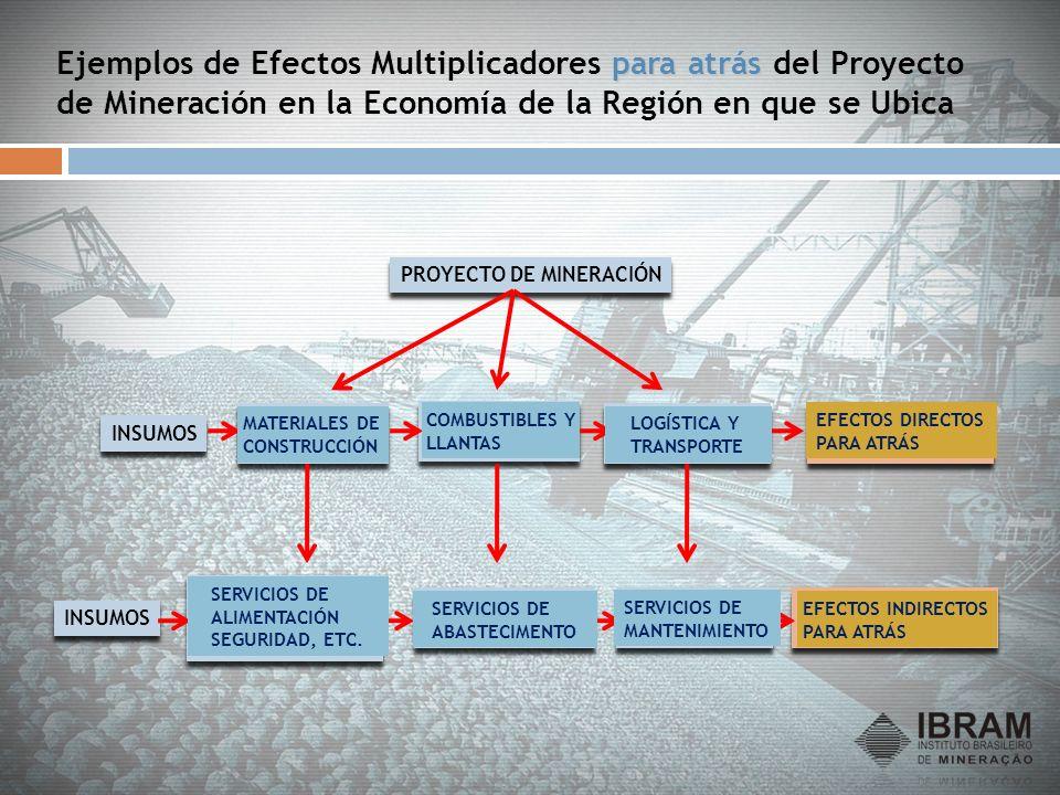 para atrás Ejemplos de Efectos Multiplicadores para atrás del Proyecto de Mineración en la Economía de la Región en que se Ubica PROYECTO DE MINERACIÓ