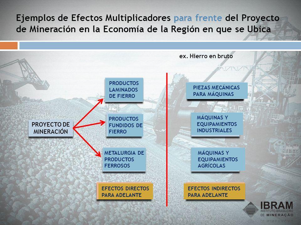 para frente Ejemplos de Efectos Multiplicadores para frente del Proyecto de Mineración en la Economía de la Región en que se Ubica PROYECTO DE MINERAC