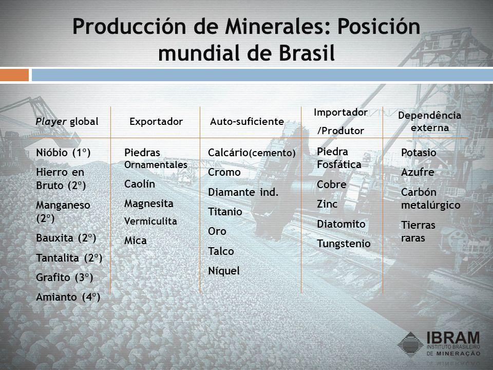 Producción de Minerales: Posición mundial de Brasil Nióbio (1º) Hierro en Bruto (2º) Manganeso (2º) Bauxita (2º) Tantalita (2º) Grafito (3º) Amianto (