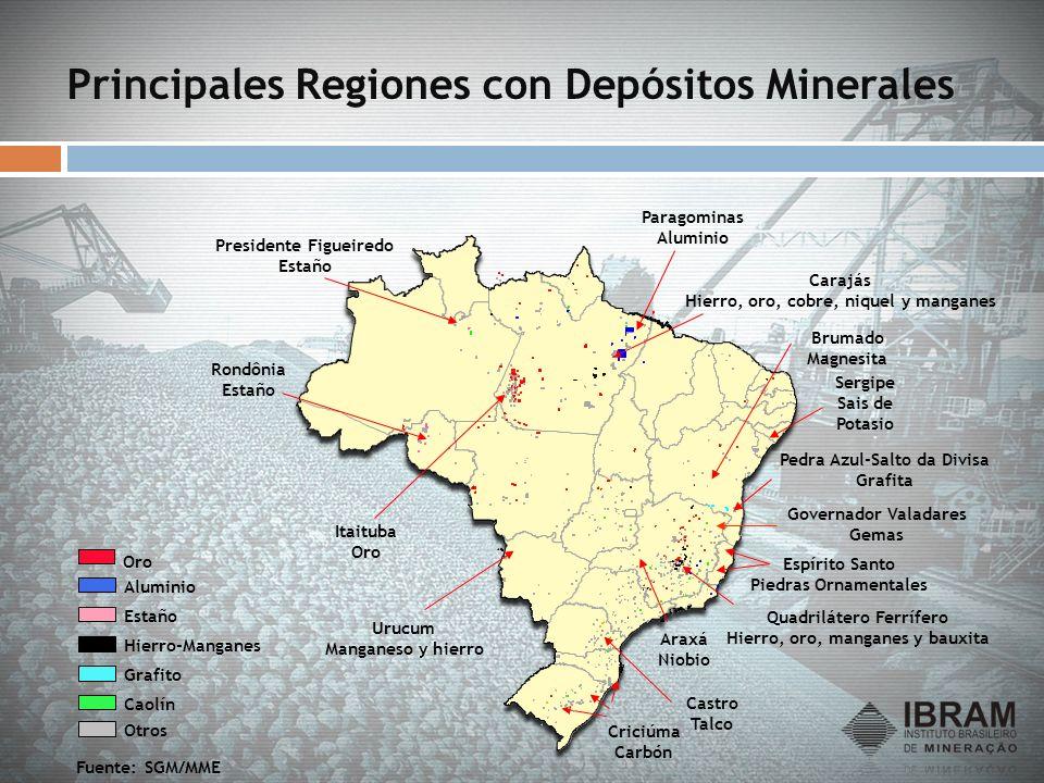 Principales Regiones con Depósitos Minerales Fuente: SGM/MME Pedra Azul-Salto da Divisa Grafita Presidente Figueiredo Estaño Rondônia Estaño Itaituba