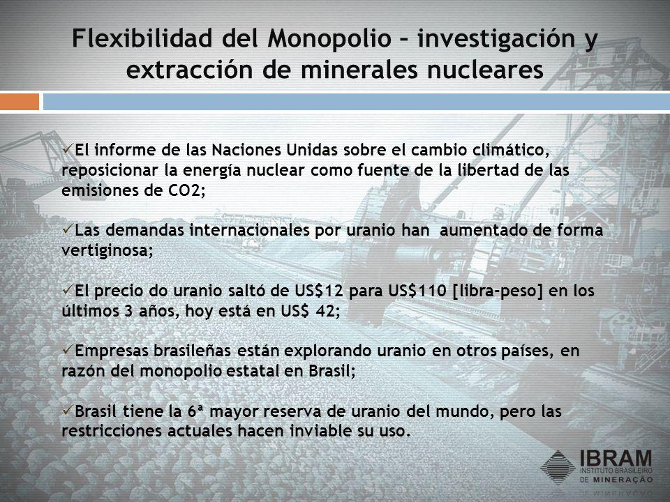 Flexibilidad del Monopolio – investigación y extracción de minerales nucleares El informe de las Naciones Unidas sobre el cambio climático, reposicion