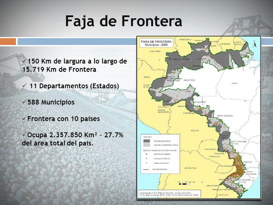 Faja de Frontera 150 Km de largura a lo largo de 15.719 Km de Frontera 11 Departamentos (Estados) 588 Municipios Frontera con 10 países Ocupa 2.357.85