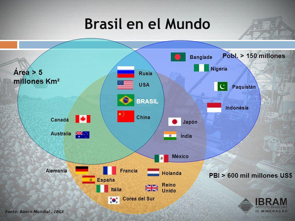 Brasil en el Mundo PBI > 600 mil millones US$ Fonte: Banco Mundial, IBGE Canadá Australia Rusia USA BRASIL China España FranciaAlemania Itália Corea d
