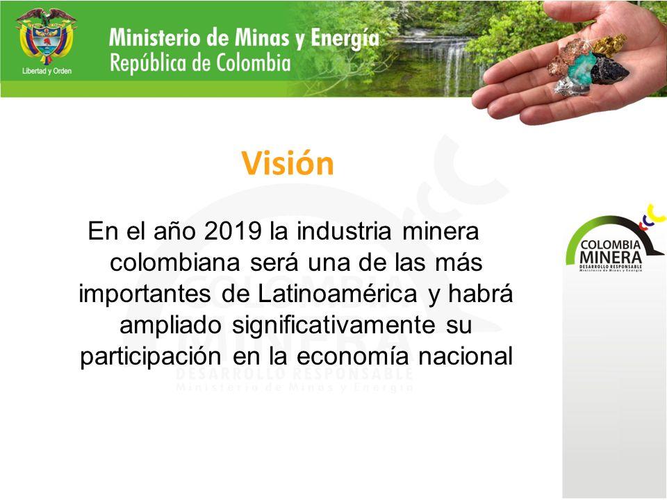 Visión En el año 2019 la industria minera colombiana será una de las más importantes de Latinoamérica y habrá ampliado significativamente su participación en la economía nacional