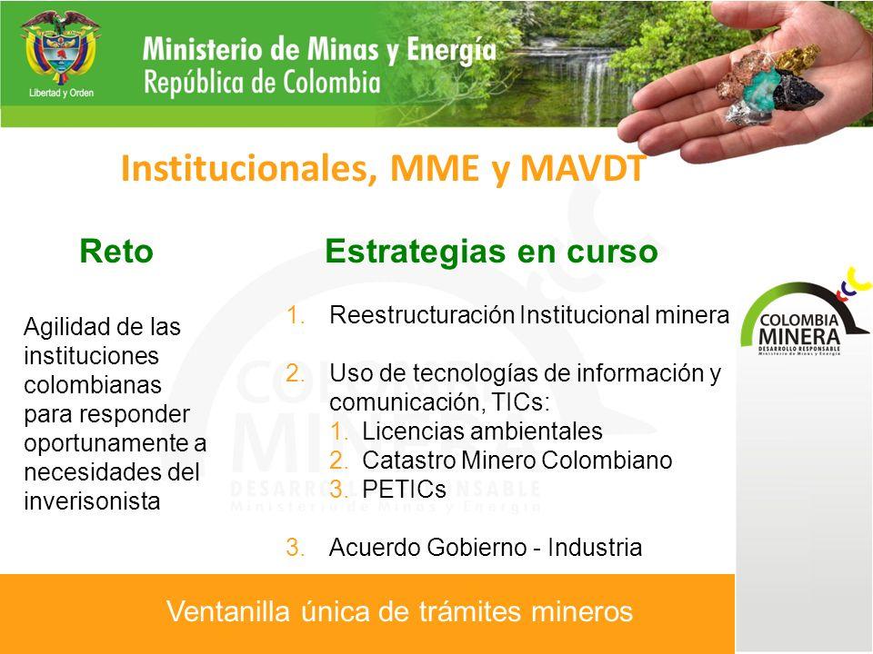 Reto Agilidad de las instituciones colombianas para responder oportunamente a necesidades del inverisonista Institucionales, MME y MAVDT Estrategias en curso 1.Reestructuración Institucional minera 2.Uso de tecnologías de información y comunicación, TICs: 1.Licencias ambientales 2.Catastro Minero Colombiano 3.PETICs 3.Acuerdo Gobierno - Industria Ventanilla única de trámites mineros