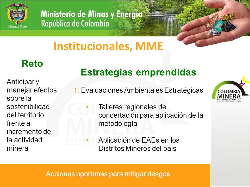 Reto Mejorar el desempeño de la pequeña y mediana minería en el país Institucionales, MME Estrategias emprendidas 1.