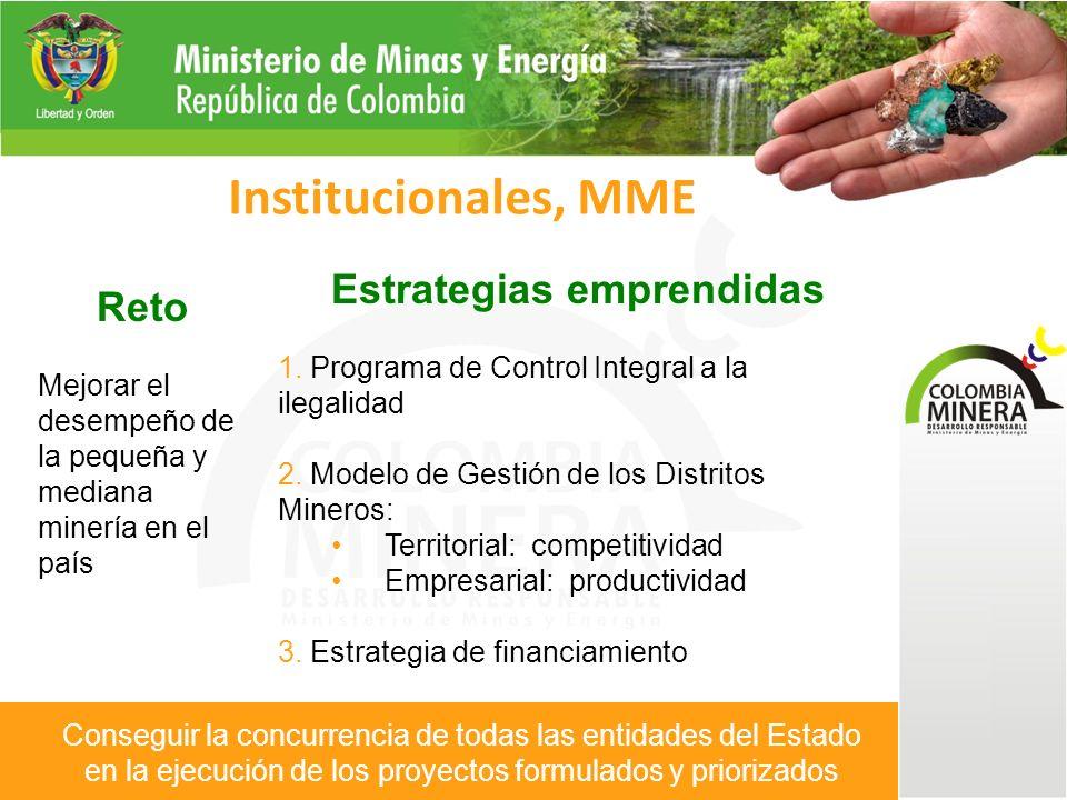 Reto Mejorar la percepción que el país tiene sobre la minería Mayor entendimiento con las poblaciones locales Institucionales, MME Estrategias emprendidas 1.