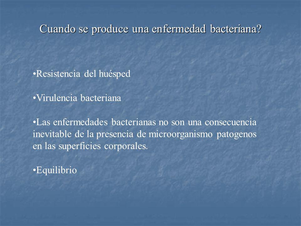 Resistencia del huésped Virulencia bacteriana Las enfermedades bacterianas no son una consecuencia inevitable de la presencia de microorganismo patoge