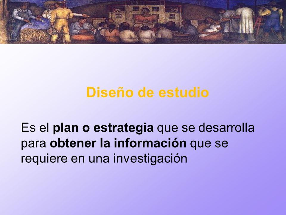 Diseño de estudio Es el plan o estrategia que se desarrolla para obtener la información que se requiere en una investigación