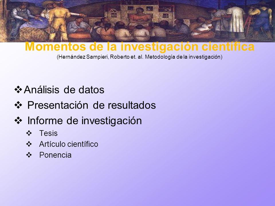 Momentos de la investigación científica (Hernández Sampieri, Roberto et. al. Metodología de la investigación) Análisis de datos Presentación de result