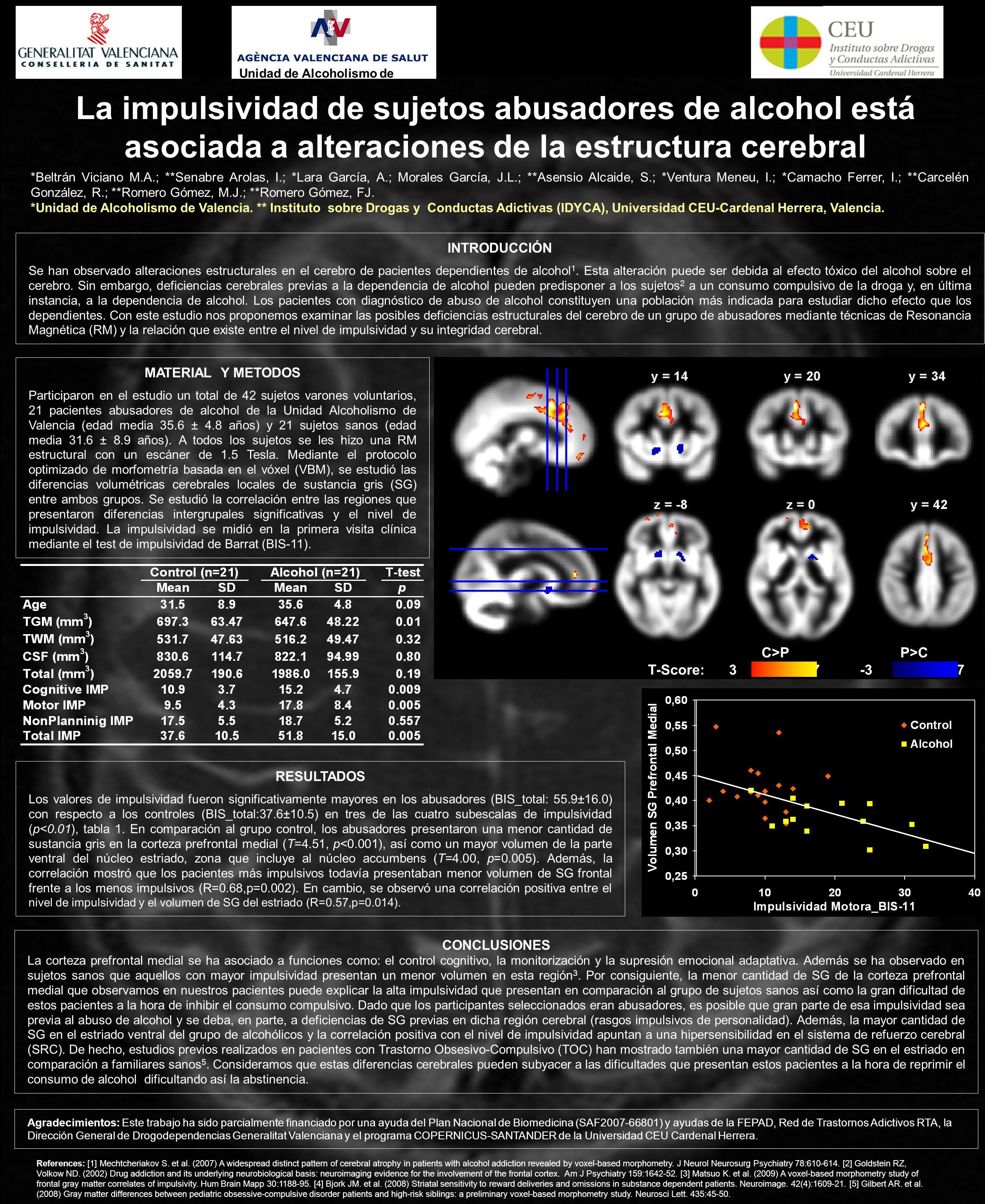 INTRODUCCIÓN Se han observado alteraciones estructurales en el cerebro de pacientes dependientes de alcohol 1. Esta alteración puede ser debida al efe