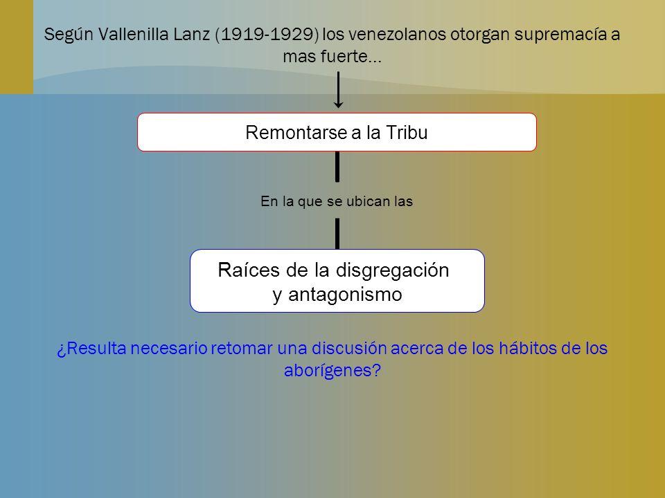 Según Vallenilla Lanz (1919-1929) los venezolanos otorgan supremacía a mas fuerte... ¿Resulta necesario retomar una discusión acerca de los hábitos de