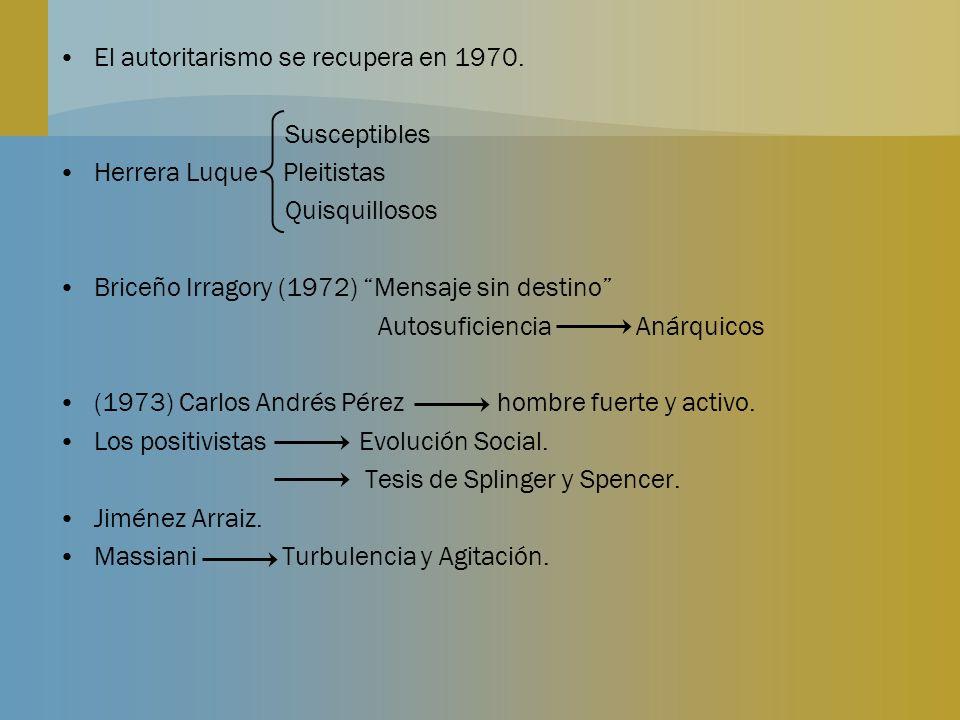 El autoritarismo se recupera en 1970. Susceptibles Herrera Luque Pleitistas Quisquillosos Briceño Irragory (1972) Mensaje sin destino Autosuficiencia