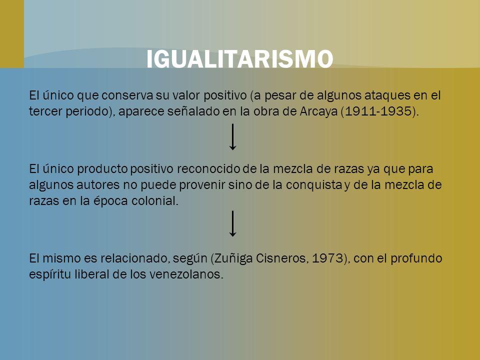 IGUALITARISMO El único que conserva su valor positivo (a pesar de algunos ataques en el tercer periodo), aparece señalado en la obra de Arcaya (1911-1
