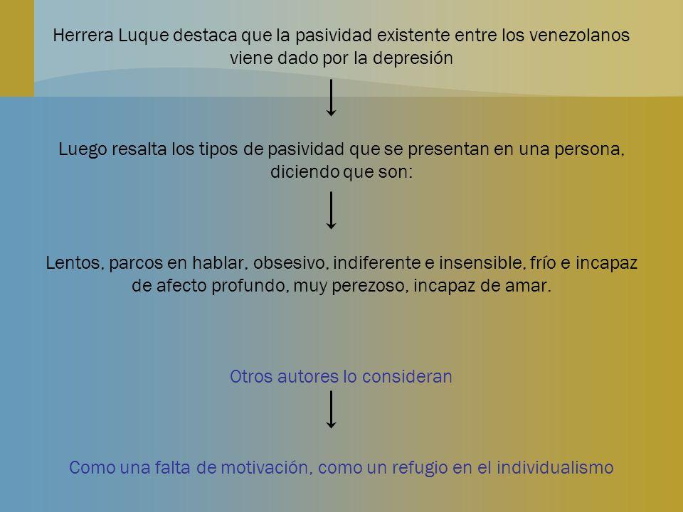 Herrera Luque destaca que la pasividad existente entre los venezolanos viene dado por la depresión Luego resalta los tipos de pasividad que se present