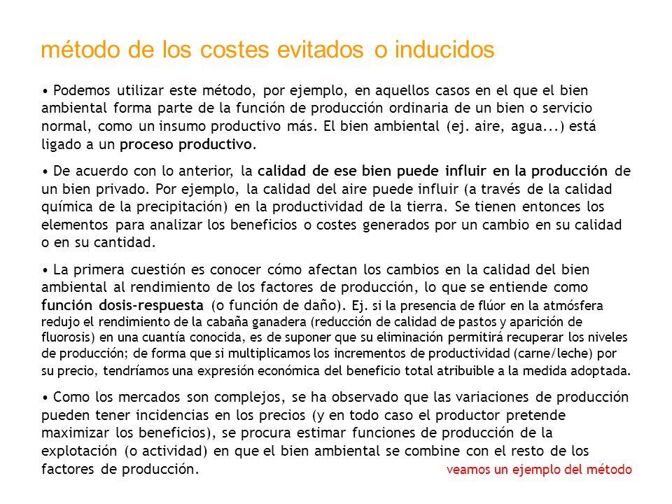 método de los costes evitados o inducidos Podemos utilizar este método, por ejemplo, en aquellos casos en el que el bien ambiental forma parte de la f
