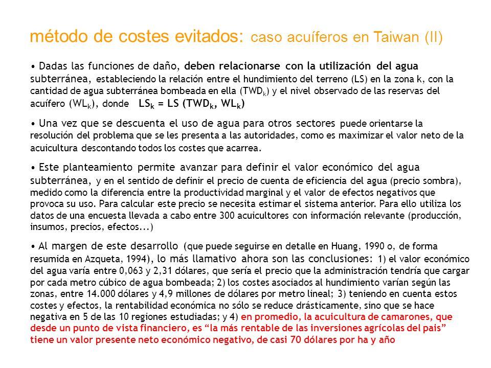 método de costes evitados: caso acuíferos en Taiwan (II) Dadas las funciones de daño, deben relacionarse con la utilización del agua subterránea, esta