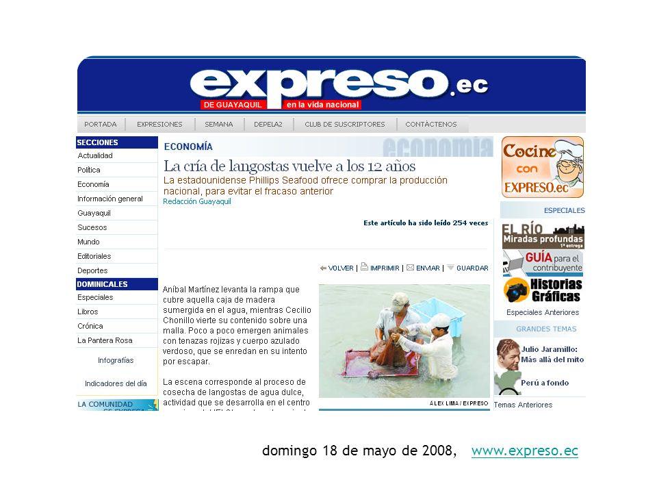 domingo 18 de mayo de 2008, www.expreso.ecwww.expreso.ec