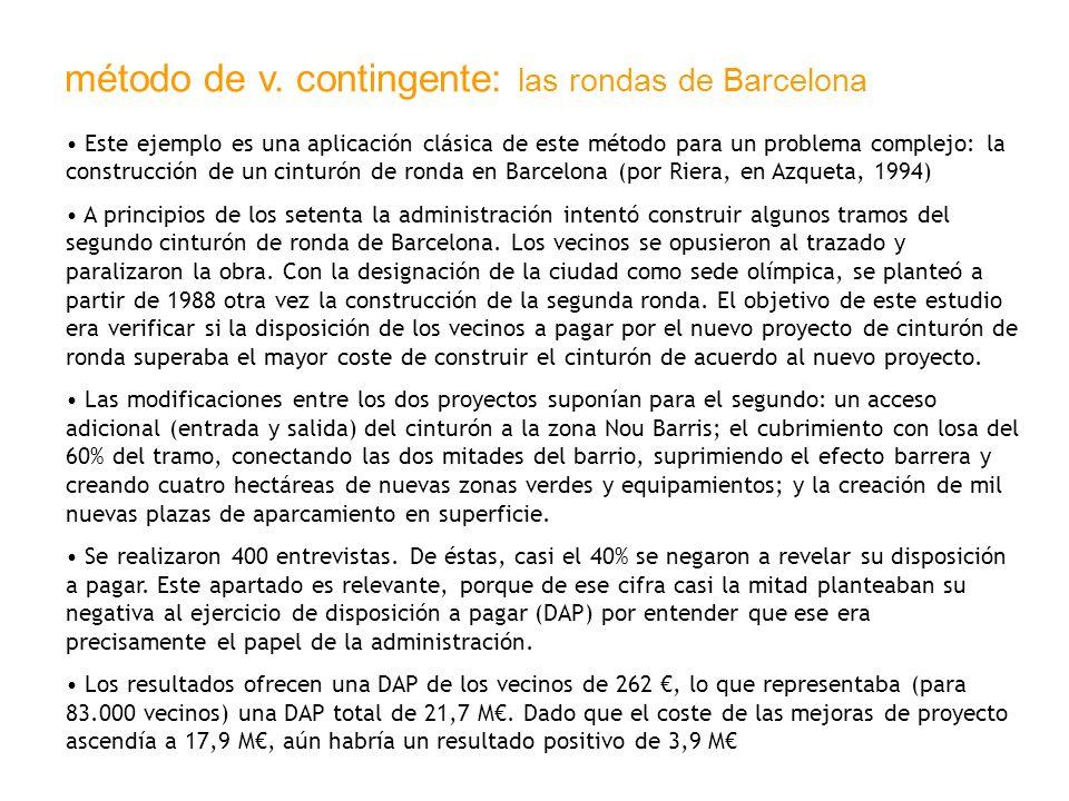método de v. contingente: las rondas de Barcelona Este ejemplo es una aplicación clásica de este método para un problema complejo: la construcción de