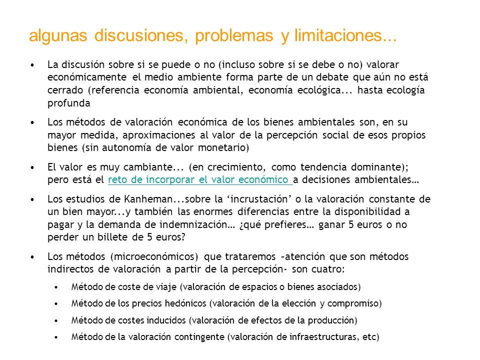 algunas discusiones, problemas y limitaciones... La discusión sobre si se puede o no (incluso sobre si se debe o no) valorar económicamente el medio a