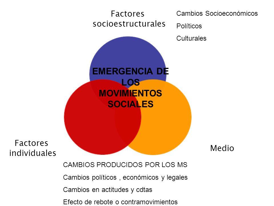 Factores socioestructurales Medio Factores individuales EMERGENCIA DE LOS MOVIMIENTOS SOCIALES Cambios Socioeconómicos Políticos Culturales CAMBIOS PR
