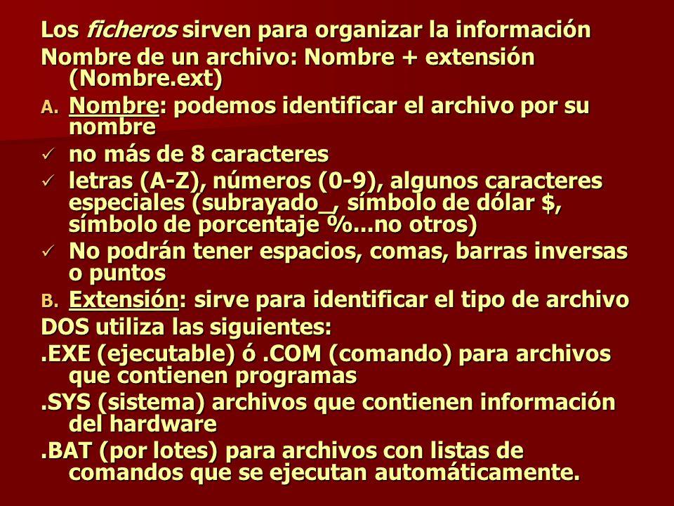 Los ficheros sirven para organizar la información Nombre de un archivo: Nombre + extensión (Nombre.ext) A. Nombre: podemos identificar el archivo por