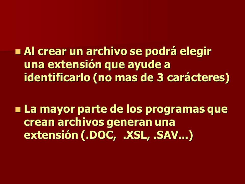 Al crear un archivo se podrá elegir una extensión que ayude a identificarlo (no mas de 3 carácteres) Al crear un archivo se podrá elegir una extensión
