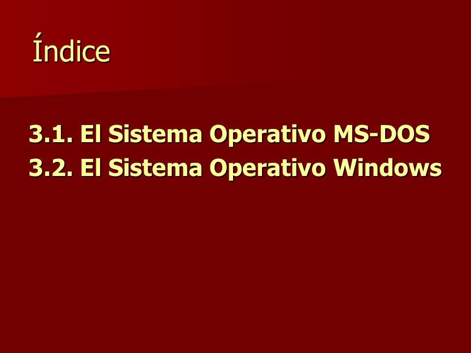 Índice 3.1. El Sistema Operativo MS-DOS 3.2. El Sistema Operativo Windows