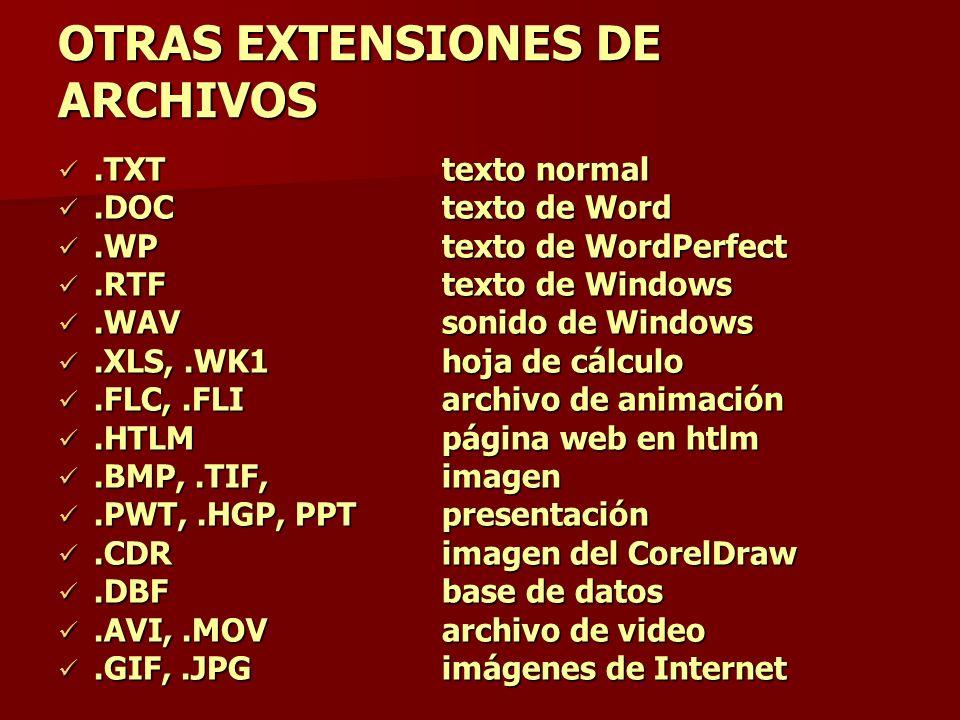 OTRAS EXTENSIONES DE ARCHIVOS.TXTtexto normal.TXTtexto normal.DOCtexto de Word.DOCtexto de Word.WPtexto de WordPerfect.WPtexto de WordPerfect.RTFtexto