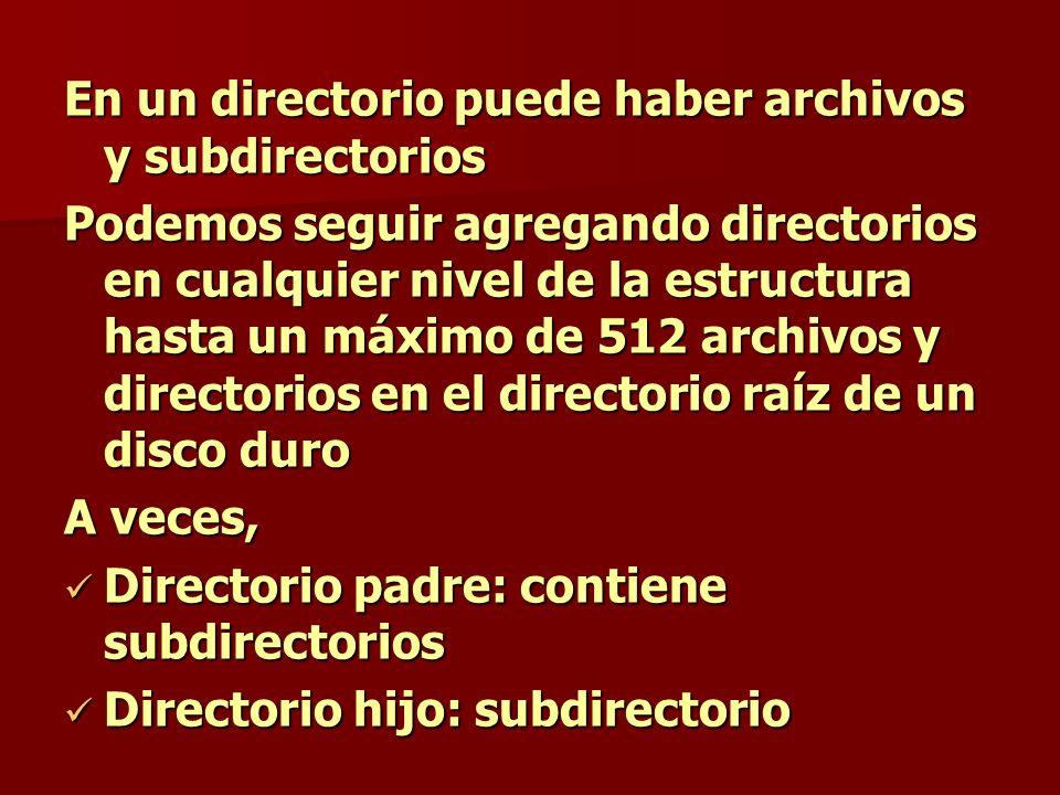 En un directorio puede haber archivos y subdirectorios Podemos seguir agregando directorios en cualquier nivel de la estructura hasta un máximo de 512