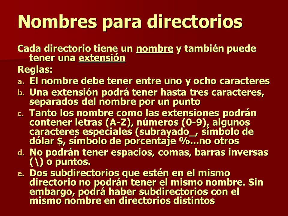 Nombres para directorios Cada directorio tiene un nombre y también puede tener una extensión Reglas: a. El nombre debe tener entre uno y ocho caracter